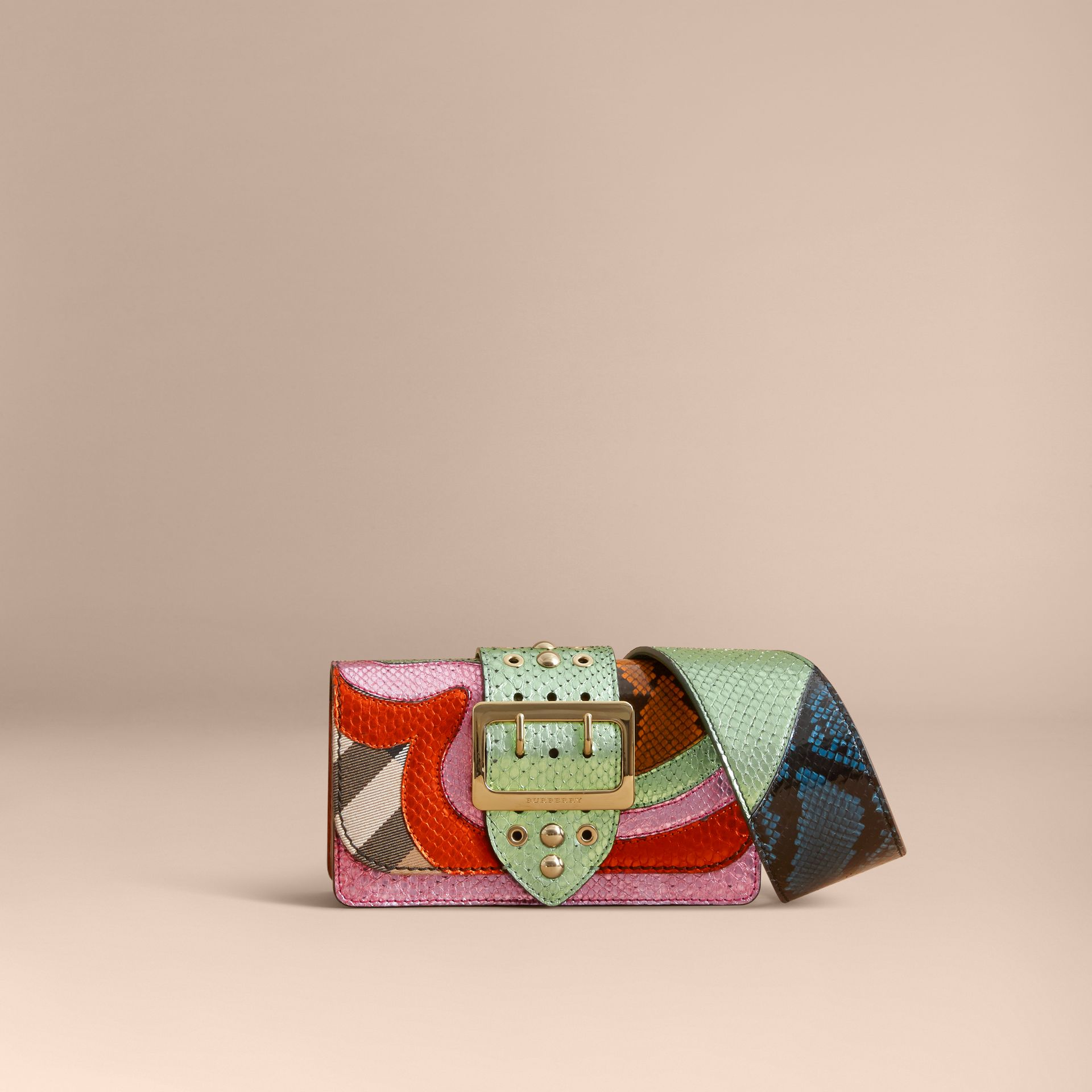 The Small Buckle Bag in House Check and Snakeskin - gallery image 8
