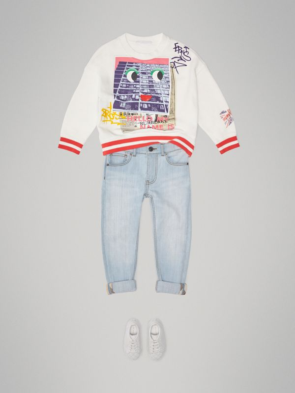 London Polaroid Print Cotton Sweatshirt in Ivory - Children | Burberry Singapore - cell image 2