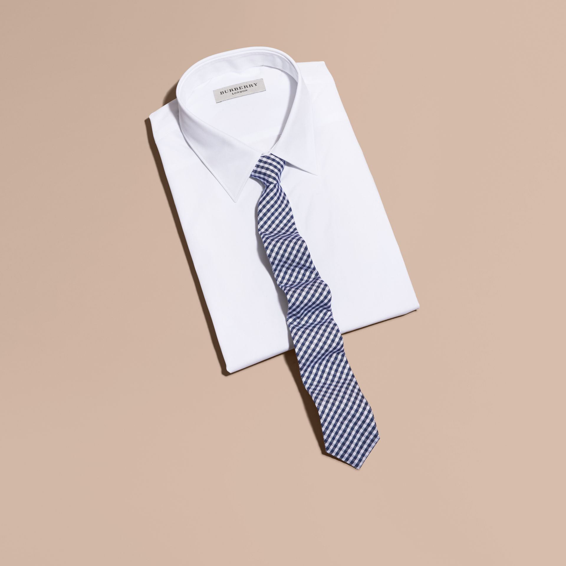 Slim Cut Cotton Silk Gingham Tie Brilliant Blue - gallery image 4