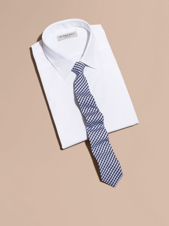 Slim Cut Cotton Silk Gingham Tie in Brilliant Blue - cell image 3