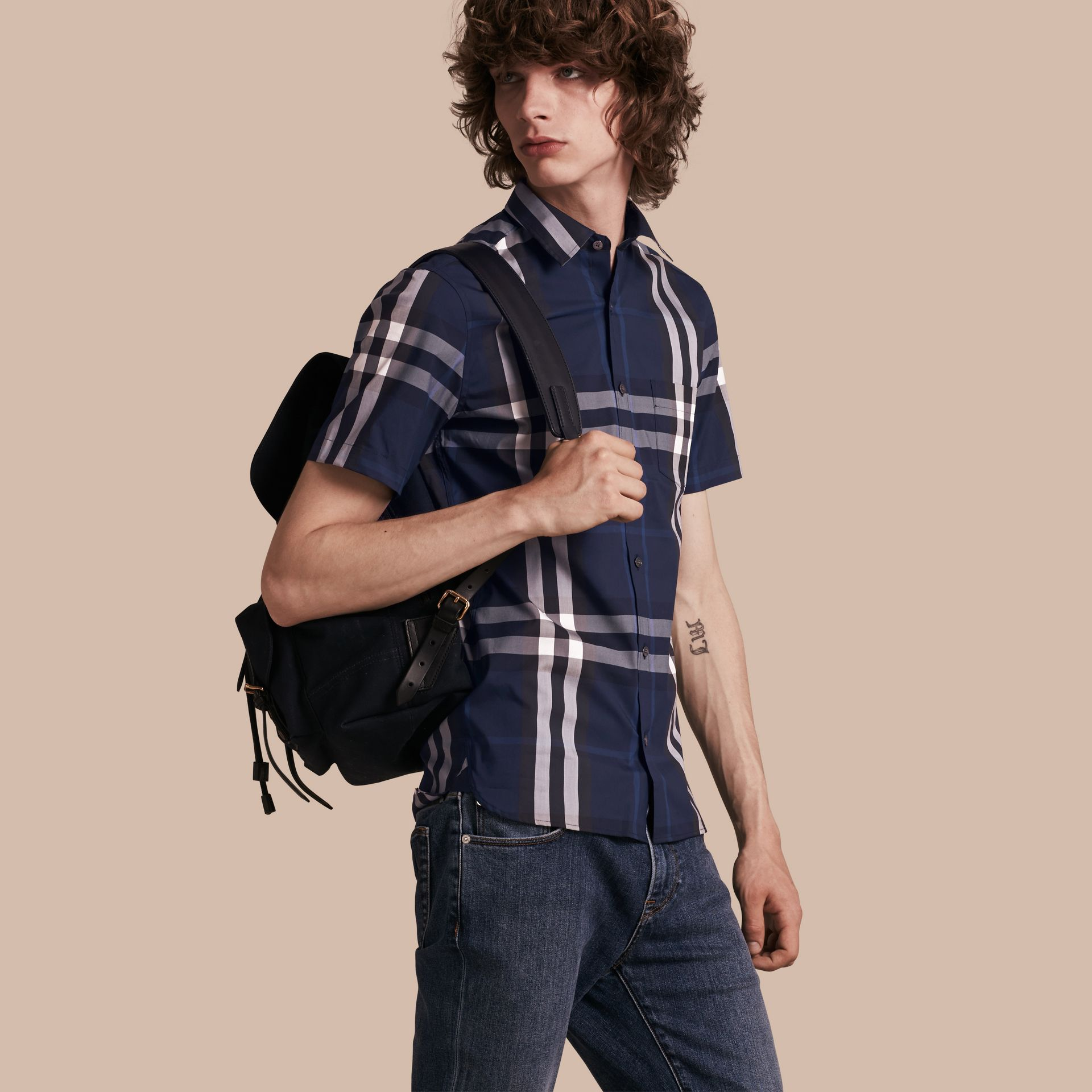 Short-sleeved Check Stretch Cotton Shirt in Indigo Blue - gallery image 1