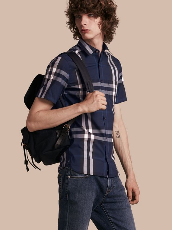 Short-sleeved Check Stretch Cotton Shirt Indigo Blue