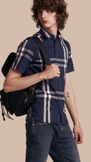Short-sleeved Check Stretch Cotton Shirt