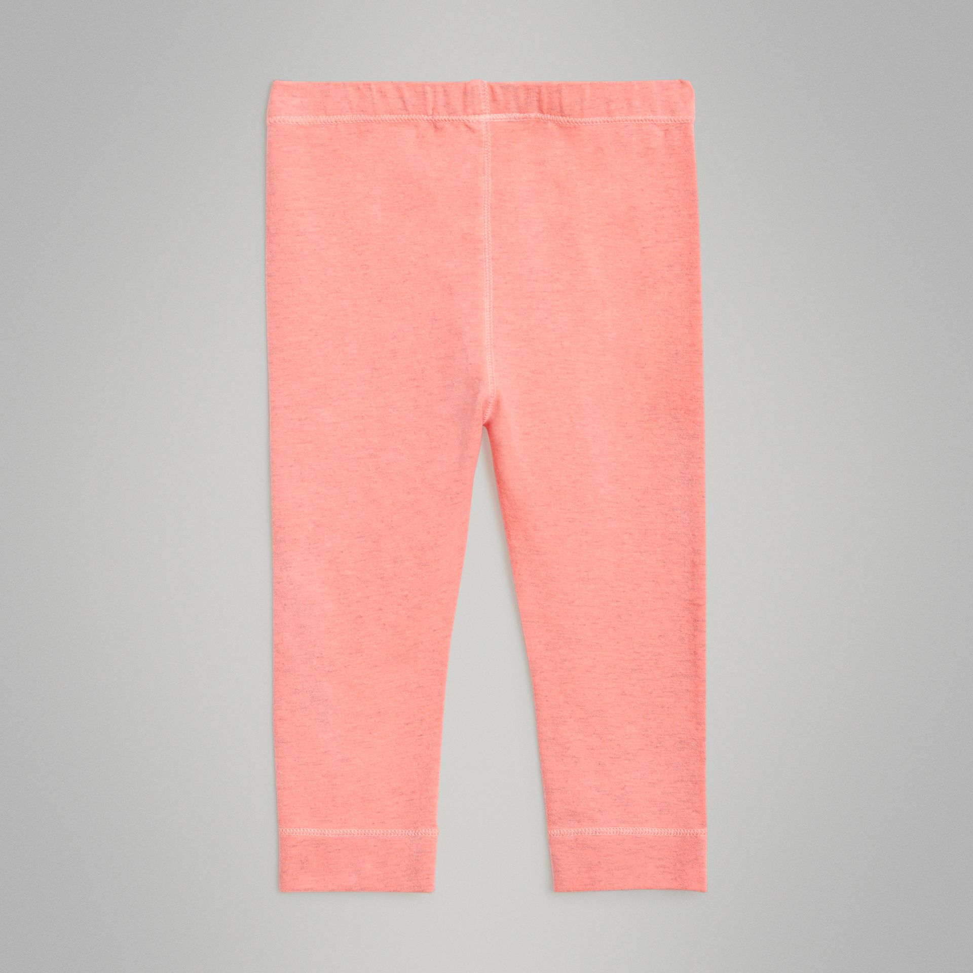 Logo Print Stretch Cotton Leggings in Pale Pink - Children | Burberry Australia - gallery image 3