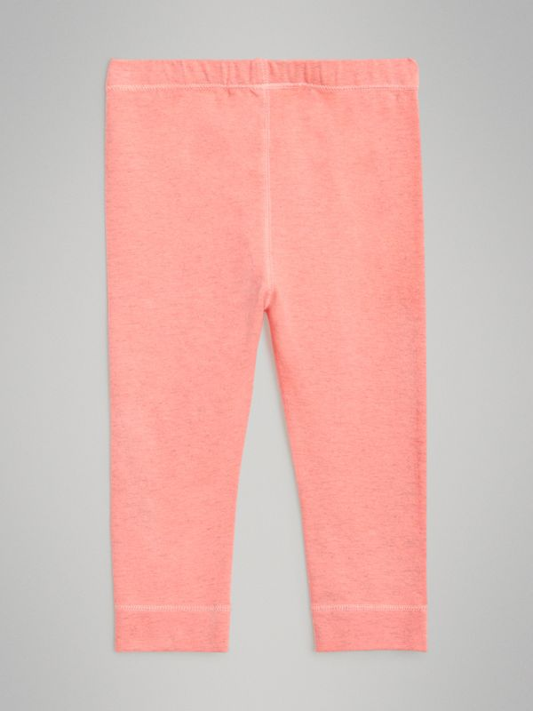 Logo Print Stretch Cotton Leggings in Pale Pink - Children | Burberry Australia - cell image 3