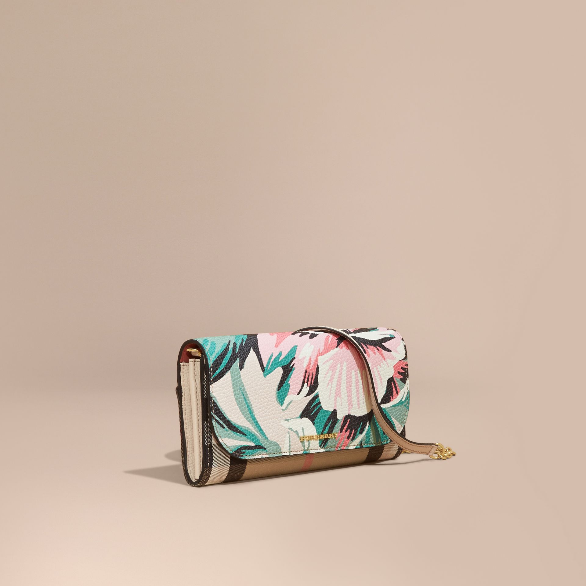 House Check and Peony Rose Print Wallet with Chain in Limestone/emerald Green - gallery image 1
