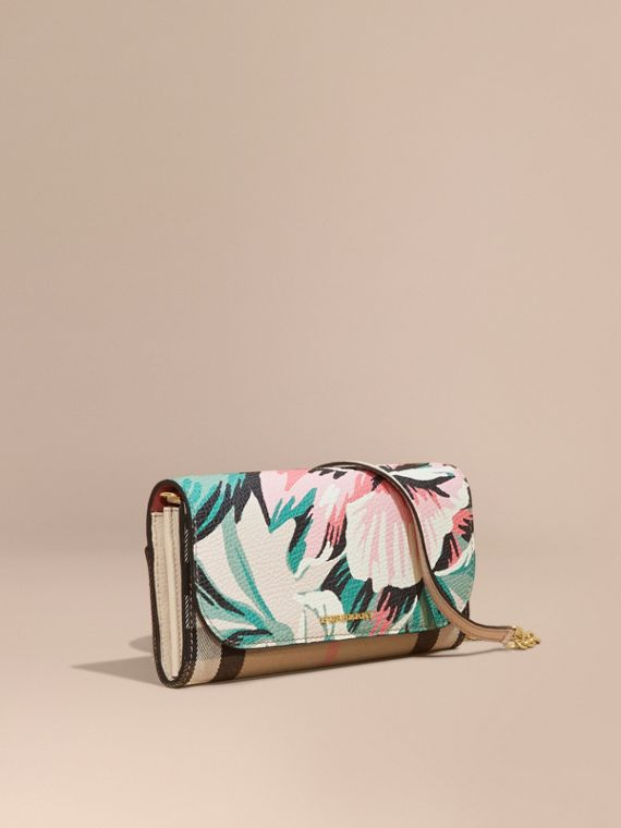House Check and Peony Rose Print Wallet with Chain Limestone/emerald Green