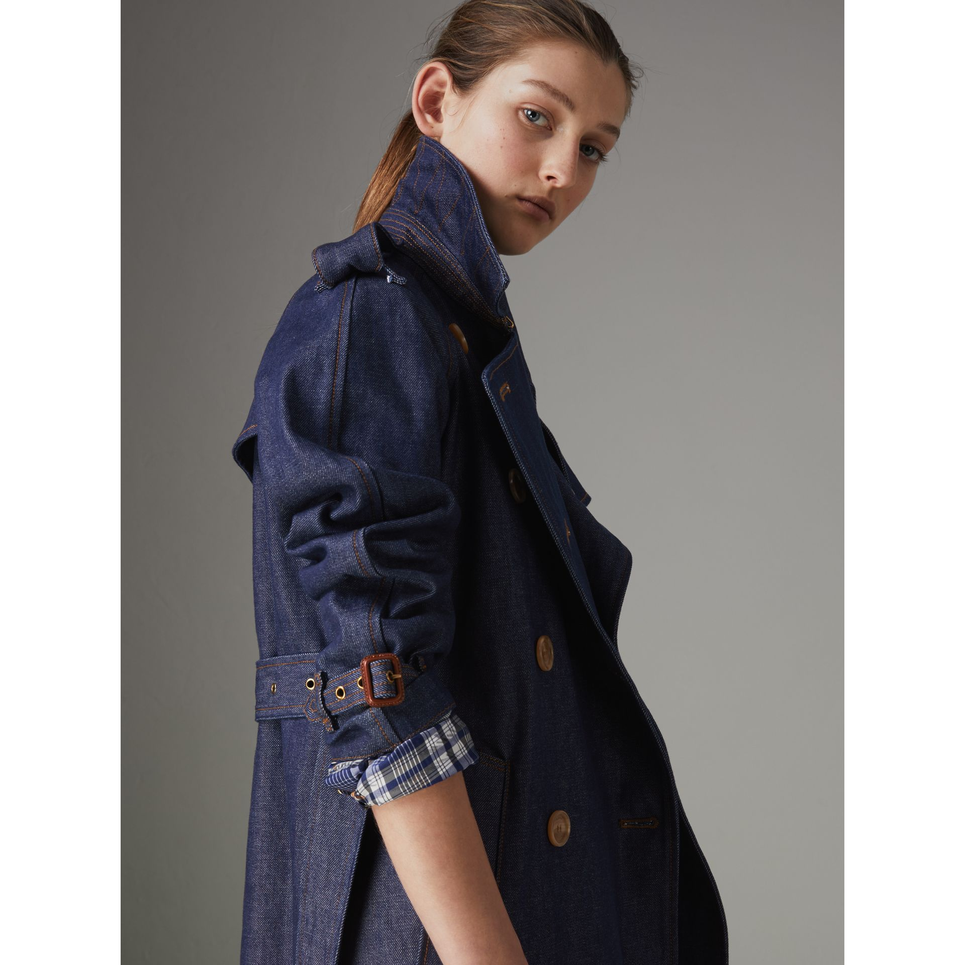 Denim Trench Coat in Dark Cobalt - Women | Burberry - gallery image 4