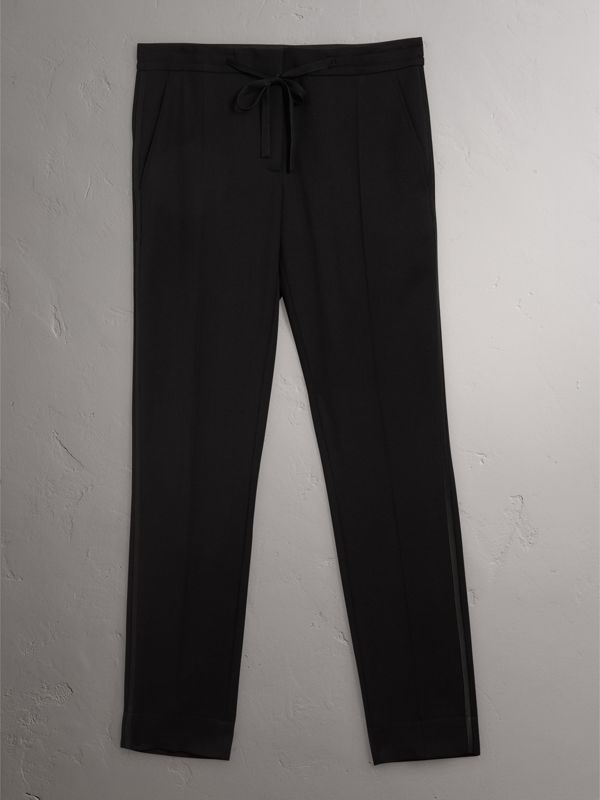 Ribbon Detail Tie-waist Wool Trousers in Black - Women | Burberry - cell image 3