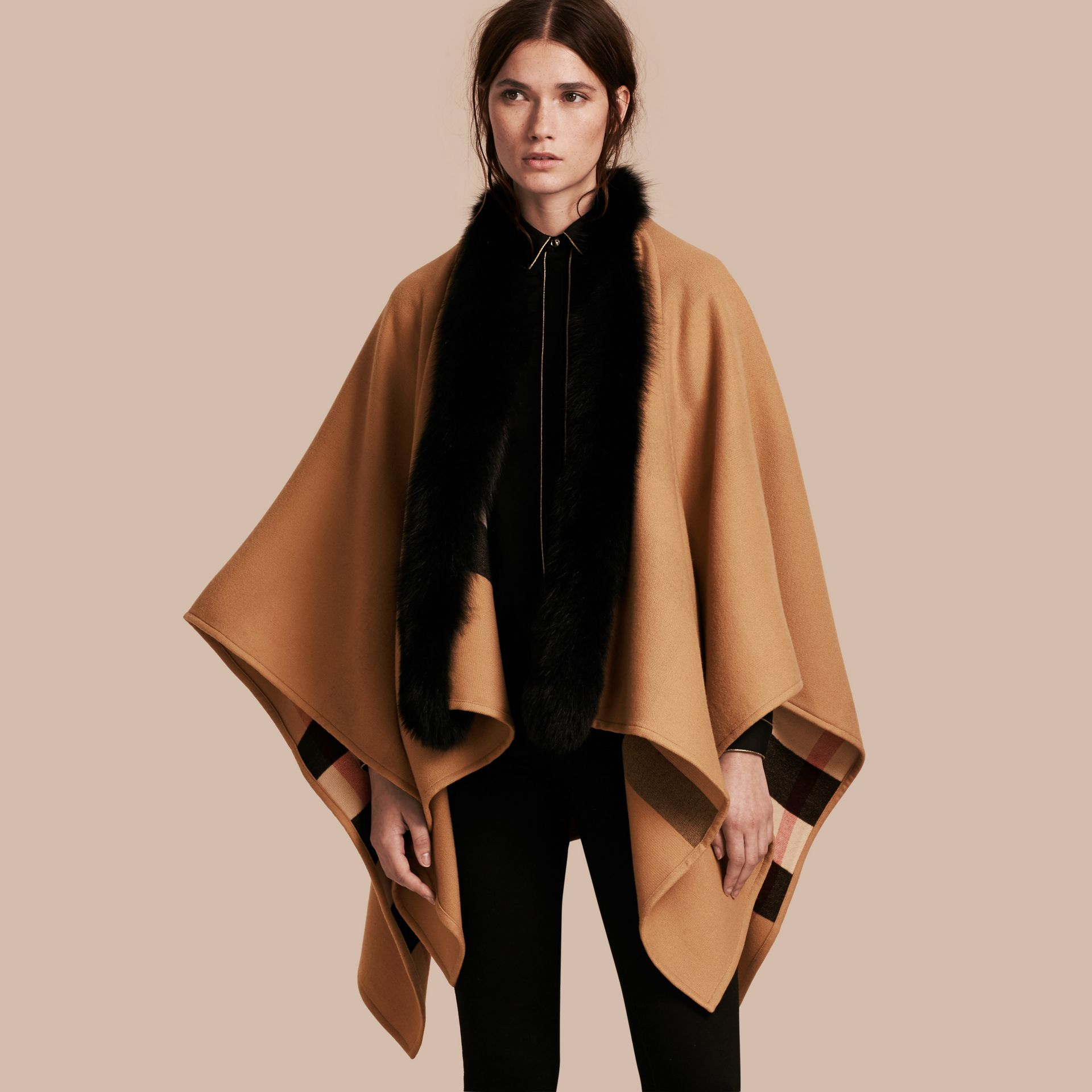 Check Merino Wool Poncho with Fox Fur Trim in Camel - Women | Burberry - gallery image 1