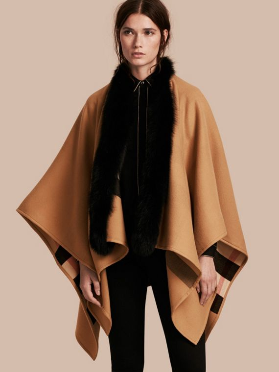 Check Merino Wool Poncho with Fox Fur Trim in Camel