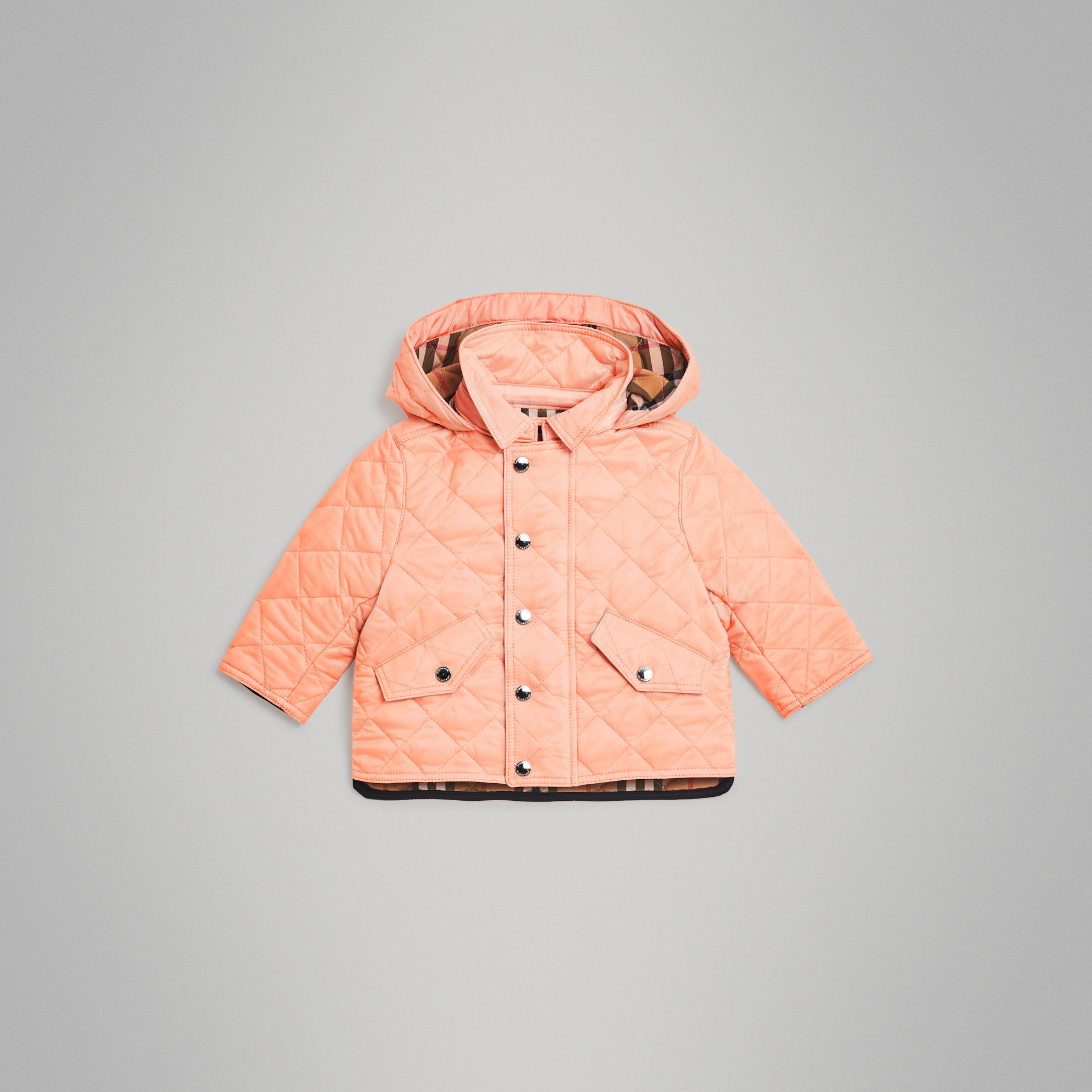 Diamond Quilted Hooded Jacket in Apricot Pink - Children | Burberry Canada - gallery image 0
