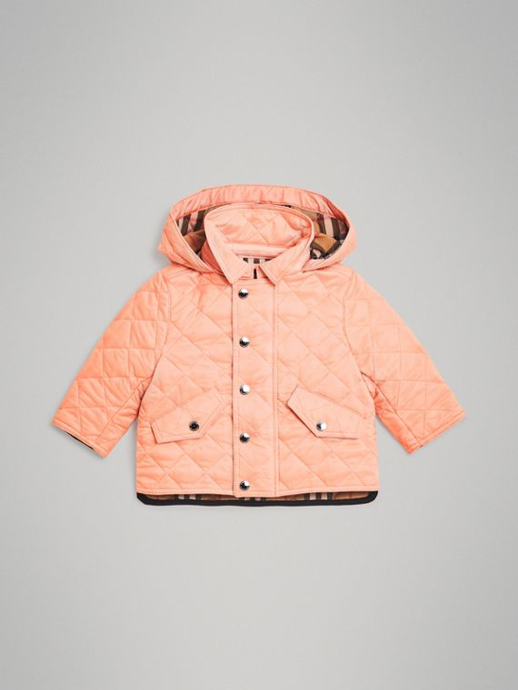 Diamond Quilted Hooded Jacket in Apricot Pink