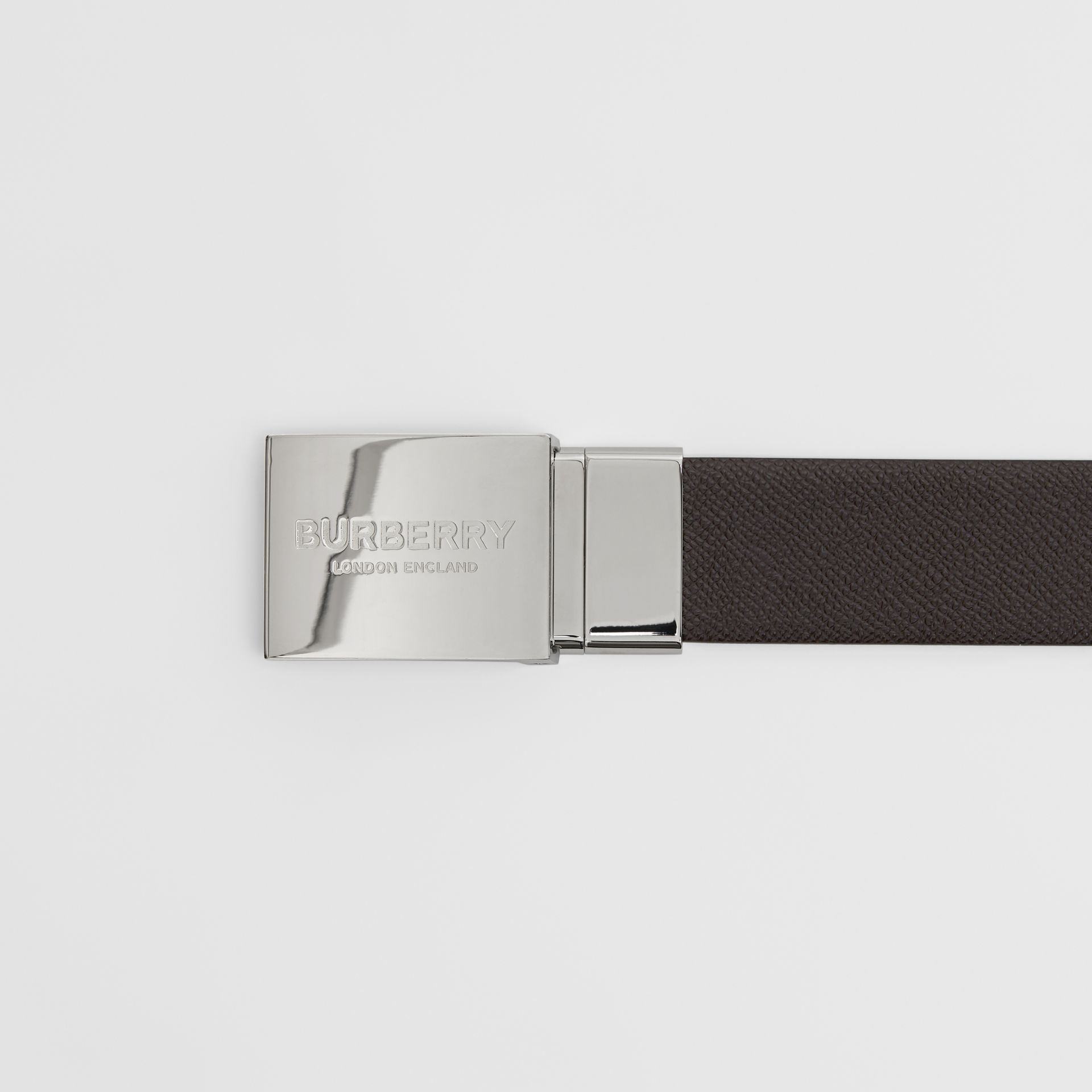 Reversible Plaque Buckle Grainy Leather Belt in Chocolate/black - Men | Burberry Singapore - gallery image 1