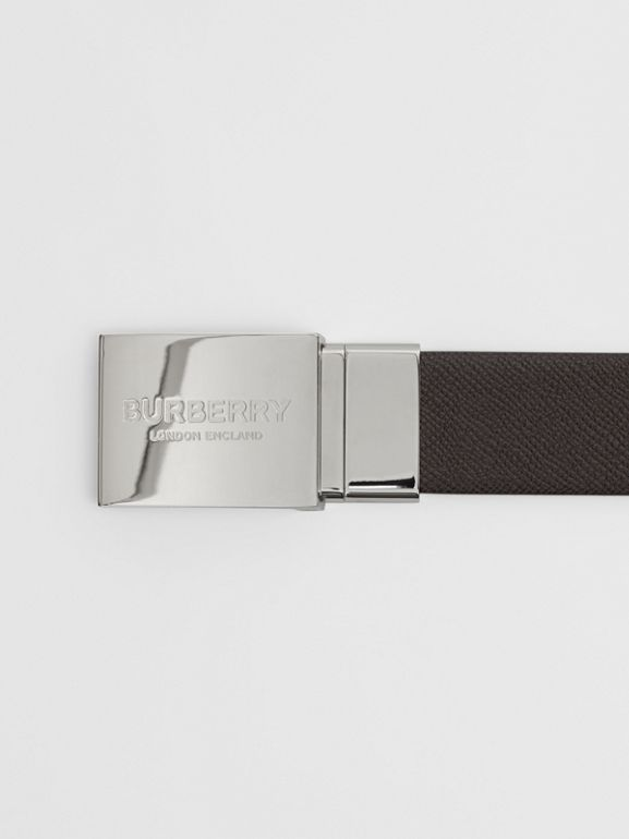 Reversible Plaque Buckle Grainy Leather Belt in Chocolate/black - Men | Burberry Singapore - cell image 1