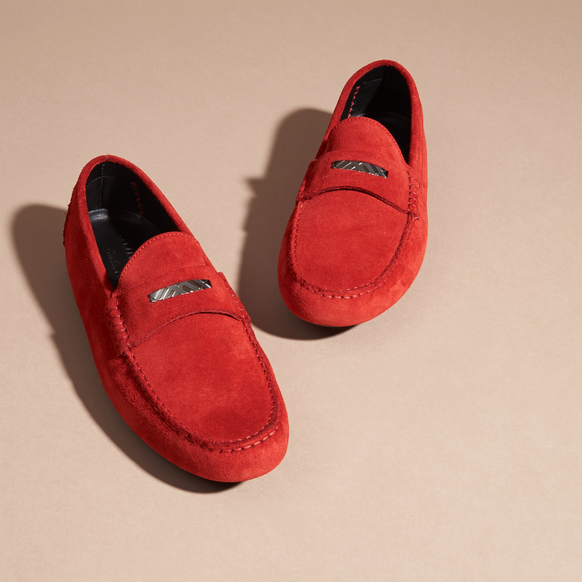 Suede Loafers with Engraved Check Detail in Bright Rowenberry - gallery image 3