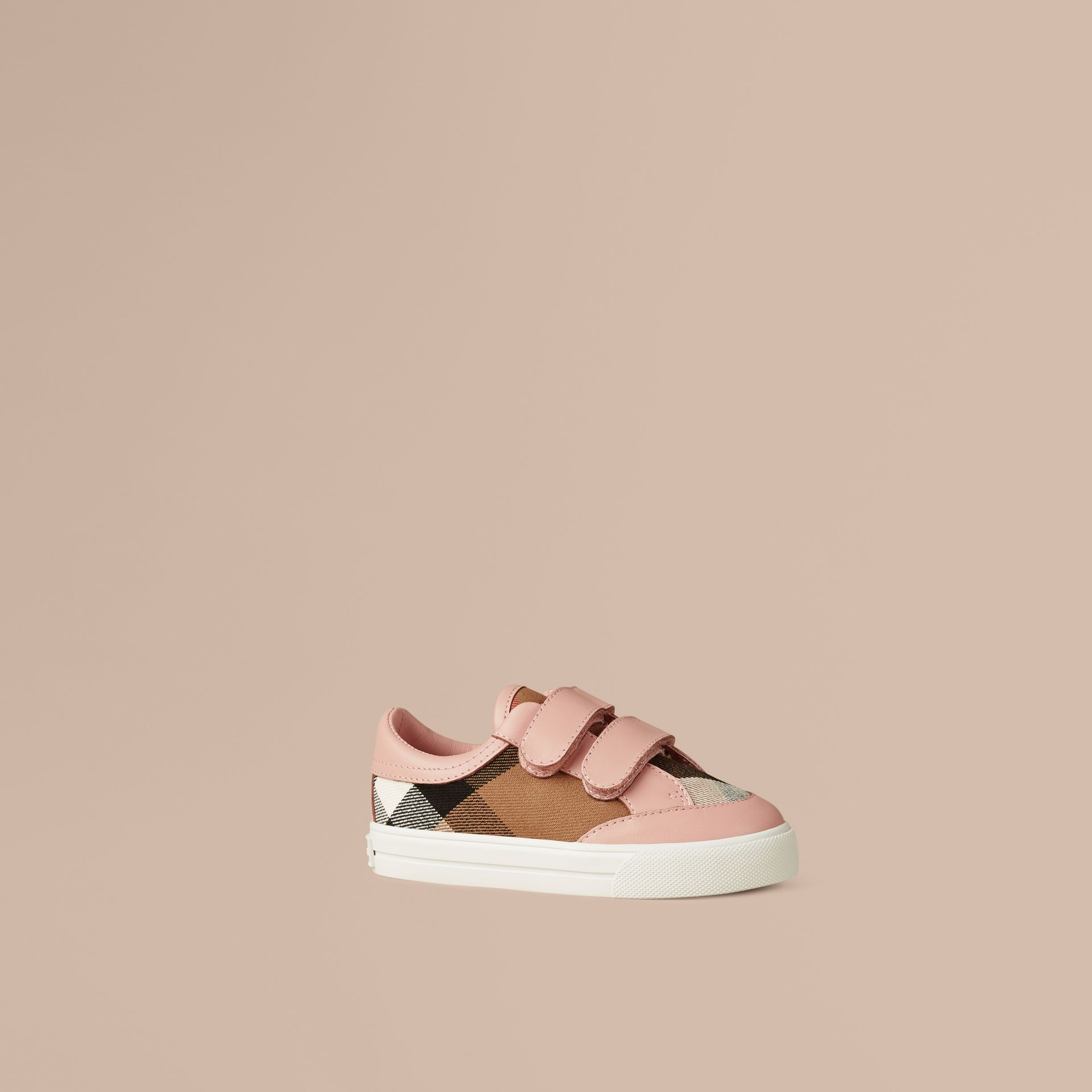 House Check and Leather Trainers in Peony Rose Melange - gallery image 1