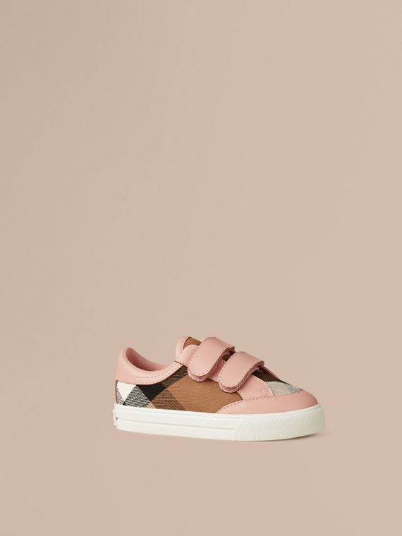 House Check and Leather Trainers in Peony Rose Melange | Burberry