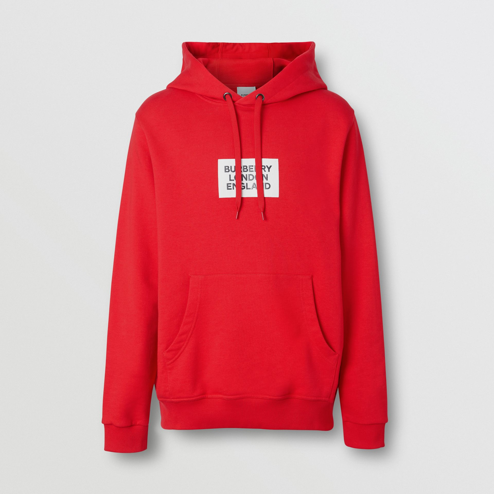 Logo Print Cotton Hoodie in Bright Red - Men | Burberry - gallery image 3