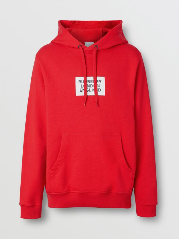 Logo Print Cotton Hoodie in Bright Red - Men | Burberry - cell image 3