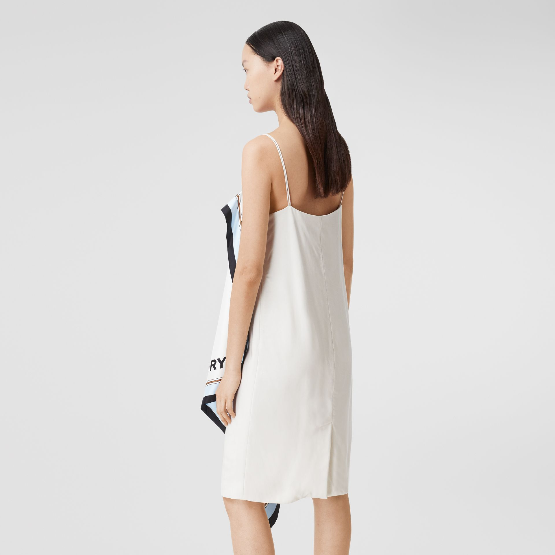 Animalia Print Silk Scarf Dress in Porcelain - Women | Burberry - gallery image 2