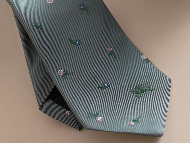 Slim Cut Floral Silk Jacquard Tie in Dusty Teal - Men | Burberry - cell image 1