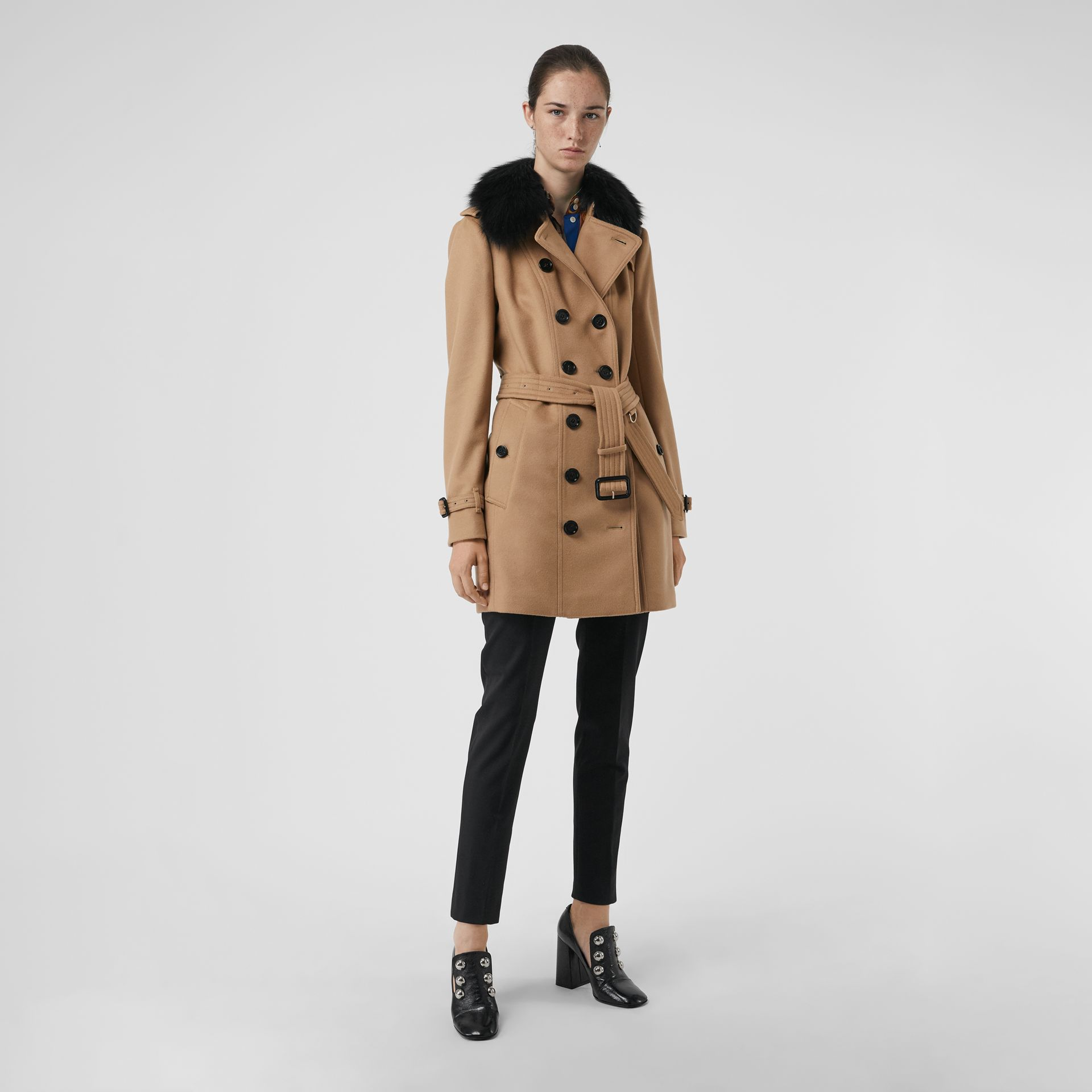 Wool Cashmere Trench Coat with Fur Collar in Camel - Women | Burberry United States - gallery image 5