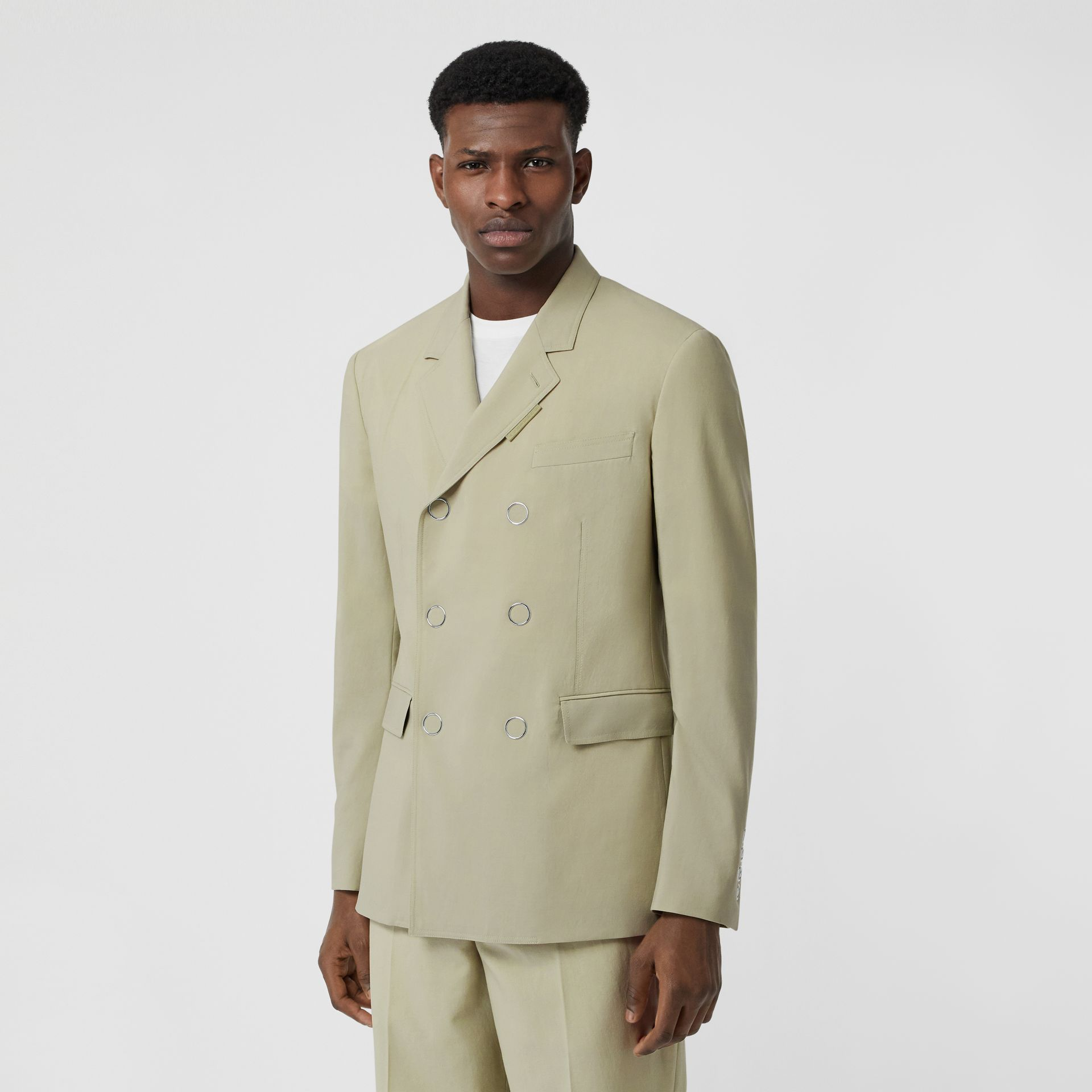 Slim Fit Press-stud Wool Tailored Jacket in Matcha | Burberry - gallery image 7