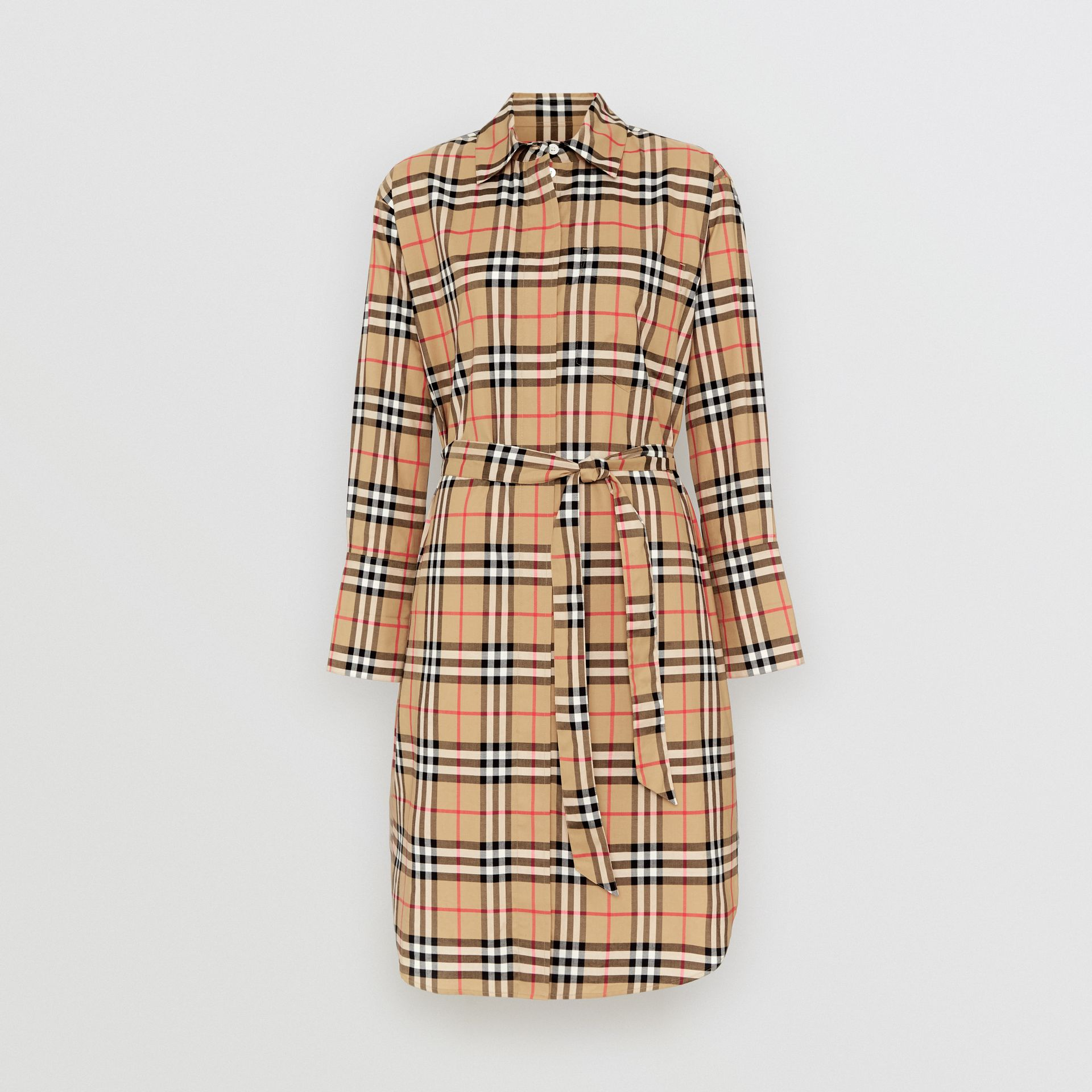 Vintage Check Cotton Tie-waist Shirt Dress in Antique Yellow | Burberry Hong Kong - gallery image 3