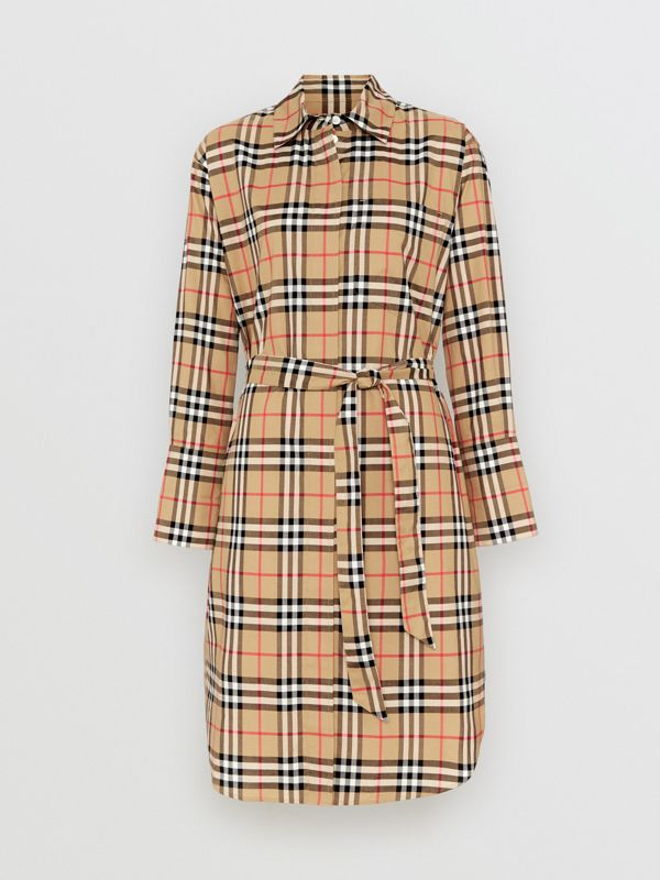 Vintage Check Cotton Tie-waist Shirt Dress in Antique Yellow | Burberry - cell image 3