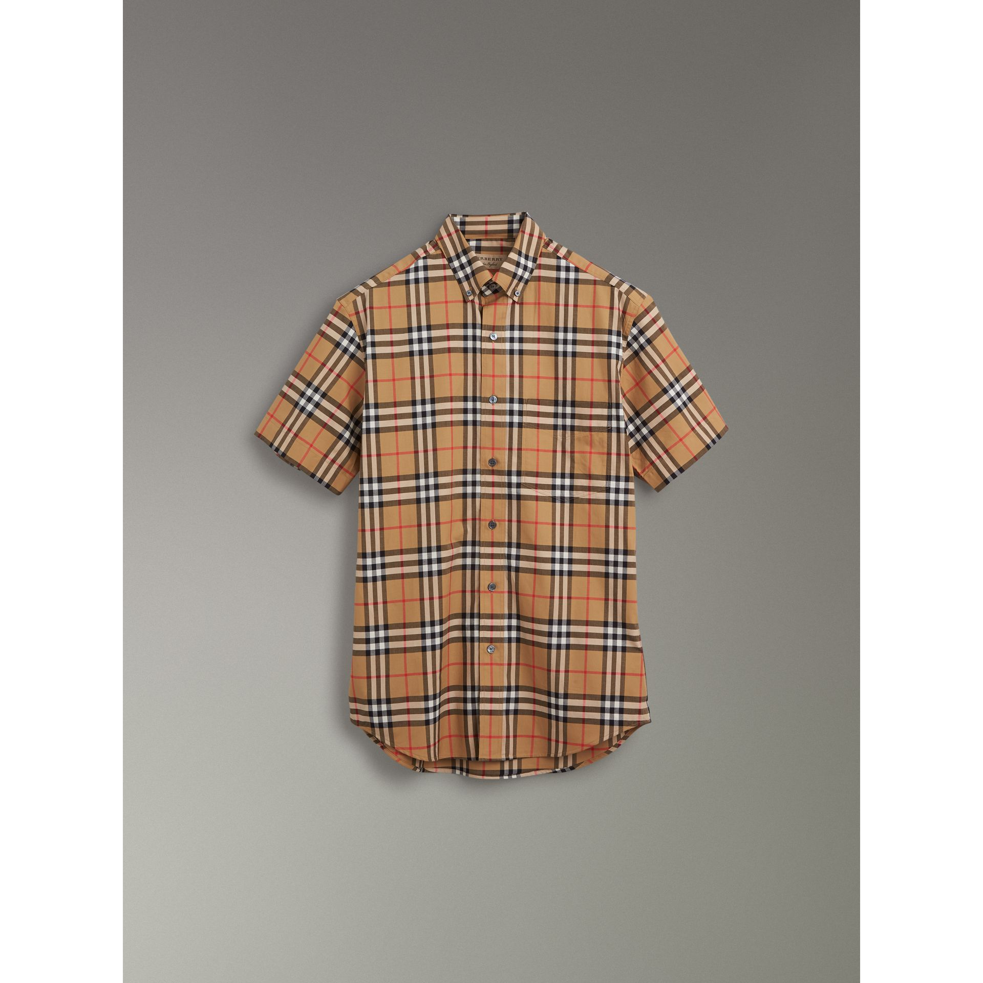 Short-sleeve Vintage Check Shirt in Antique Yellow - Men | Burberry United Kingdom - gallery image 3