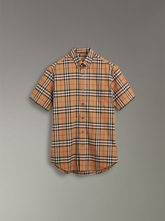 Short-sleeve Vintage Check Shirt in Antique Yellow - Men | Burberry United Kingdom - cell image 3