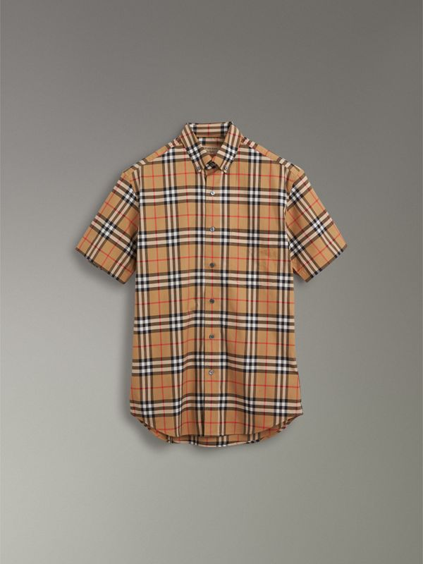 Short-sleeve Vintage Check Shirt in Antique Yellow - Men | Burberry Hong Kong - cell image 3