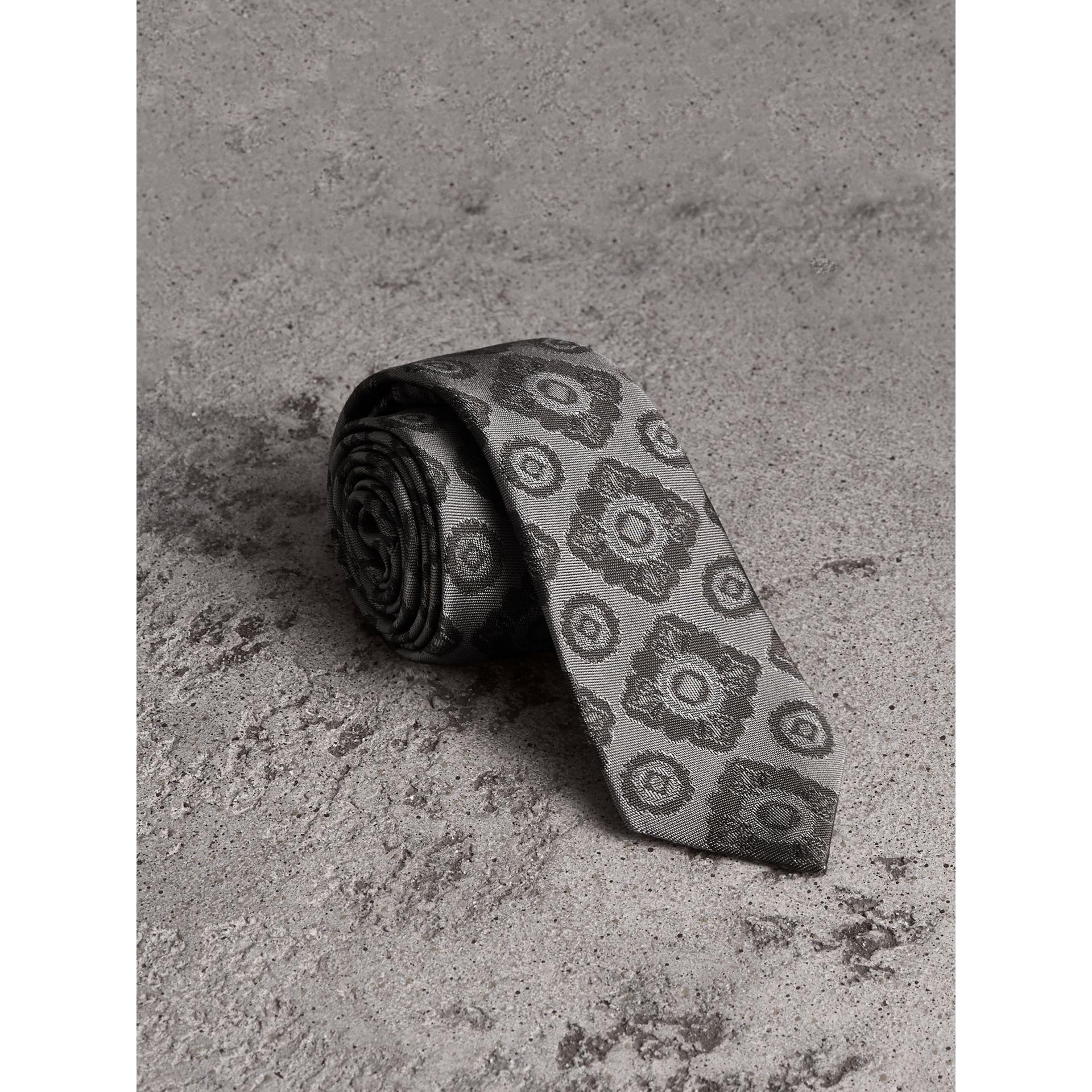 Slim Cut Tiled Floral Silk Jacquard Tie in Pale Grey - Men | Burberry - gallery image 1