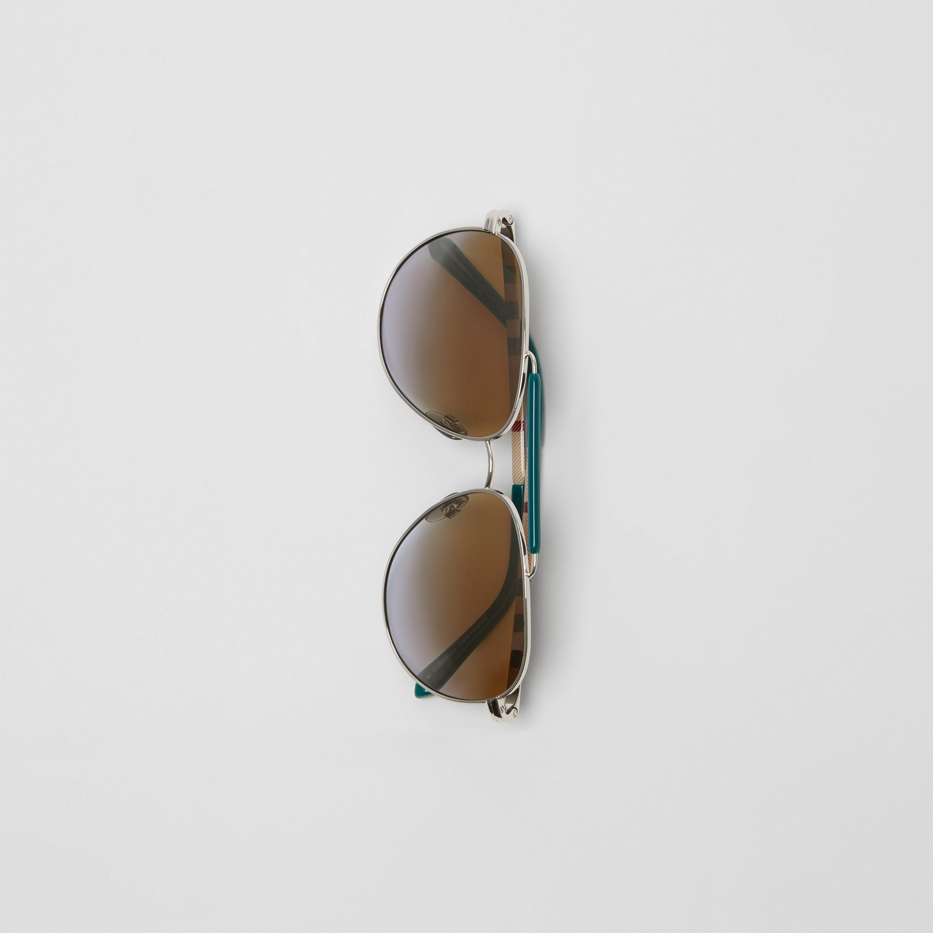 Top Bar Detail Pilot Sunglasses in Teal Blue - Men | Burberry - gallery image 3