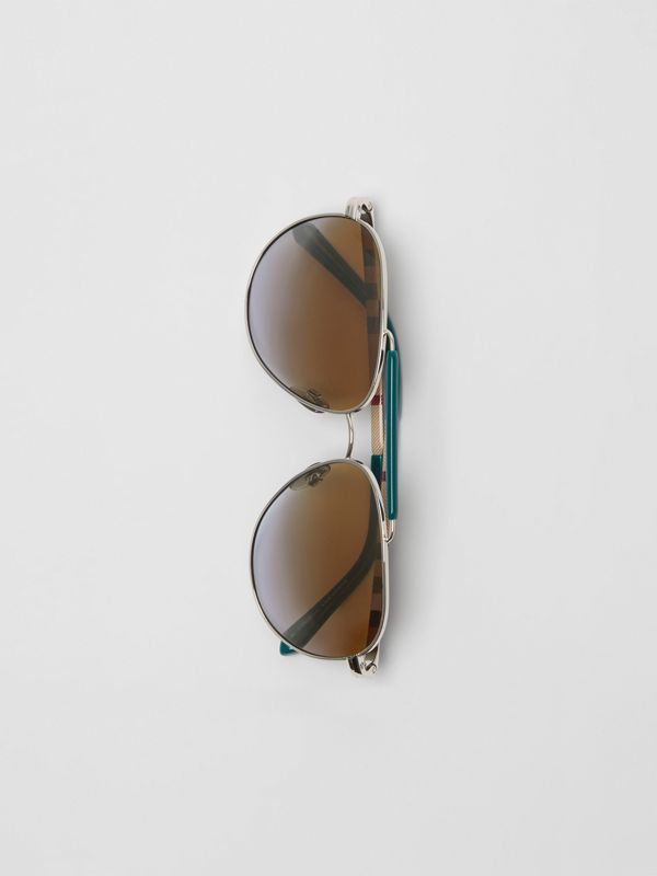 Top Bar Detail Pilot Sunglasses in Teal Blue - Men | Burberry - cell image 3