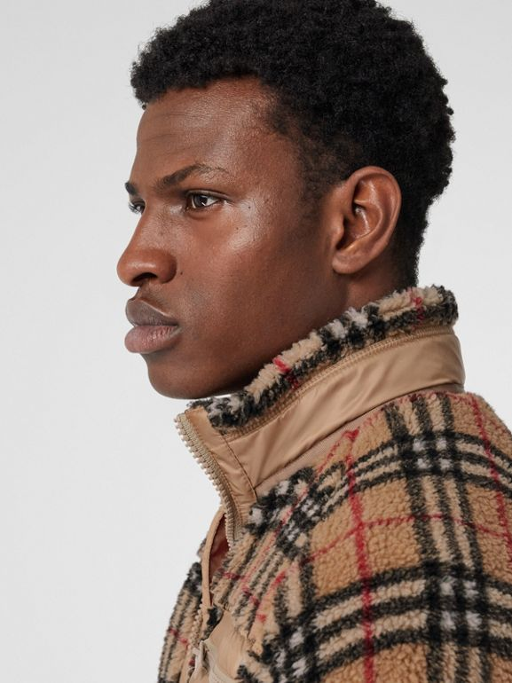 Vintage Check Fleece Jacket in Archive Beige - Men | Burberry United States - cell image 1