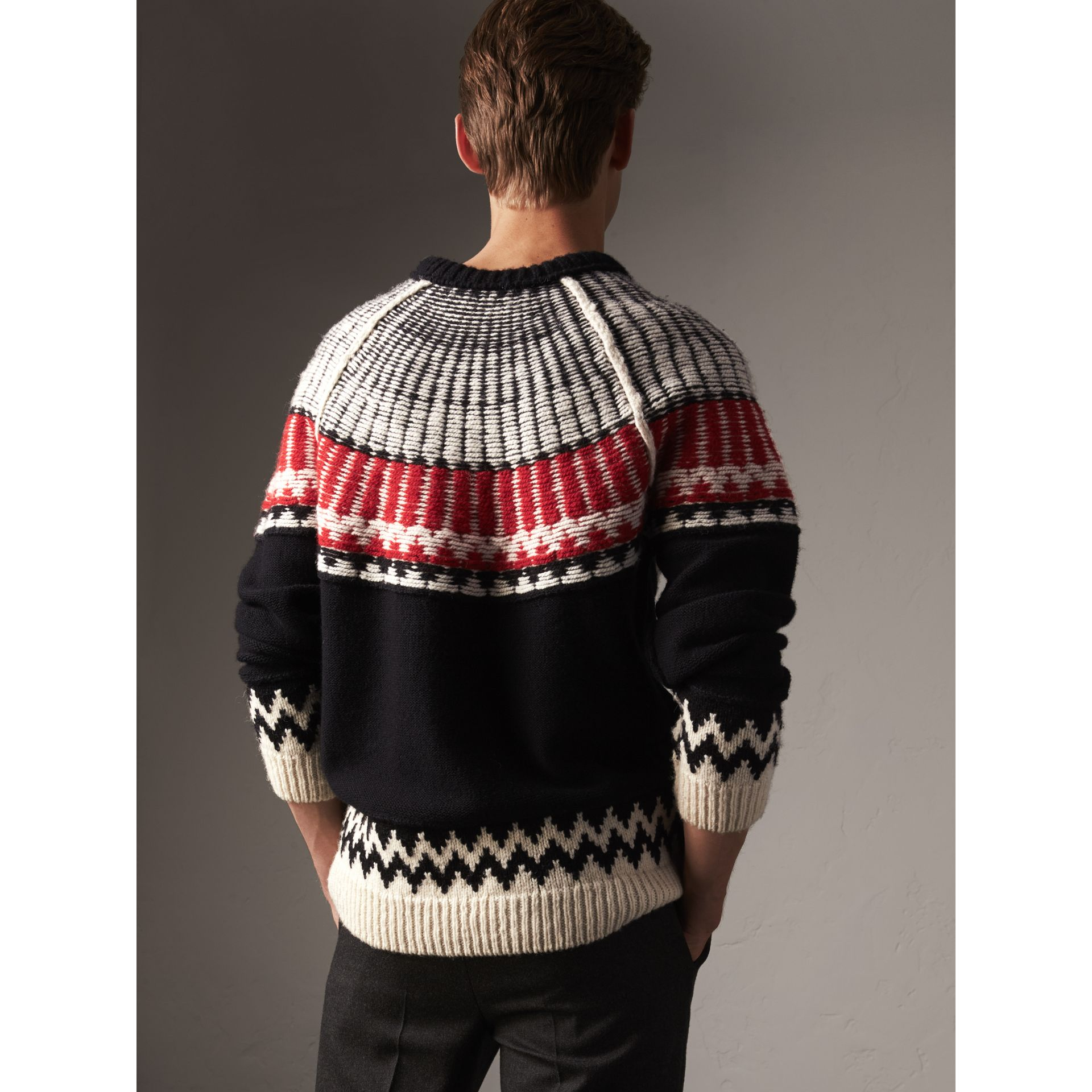 Fair Isle Wool Cashmere Sweater in Black/ Military Red - Men | Burberry - gallery image 2