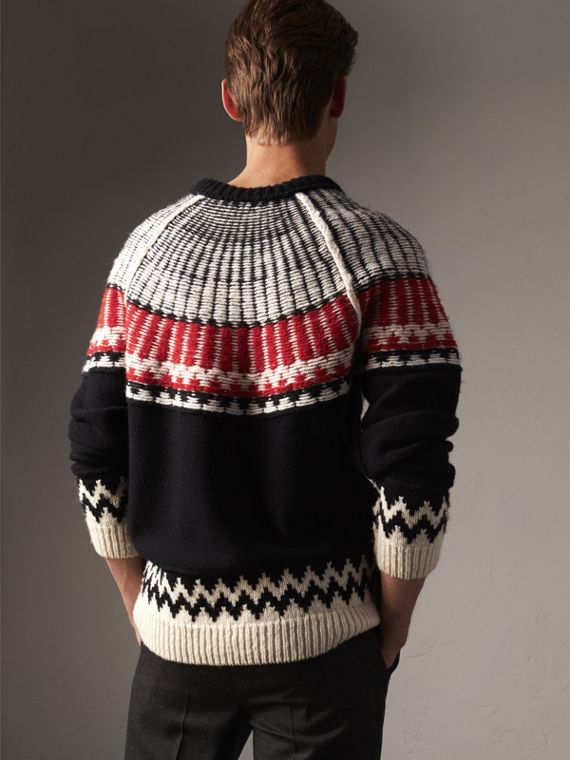 Fair Isle Wool Cashmere Sweater in Black/ Military Red - Men | Burberry - cell image 2