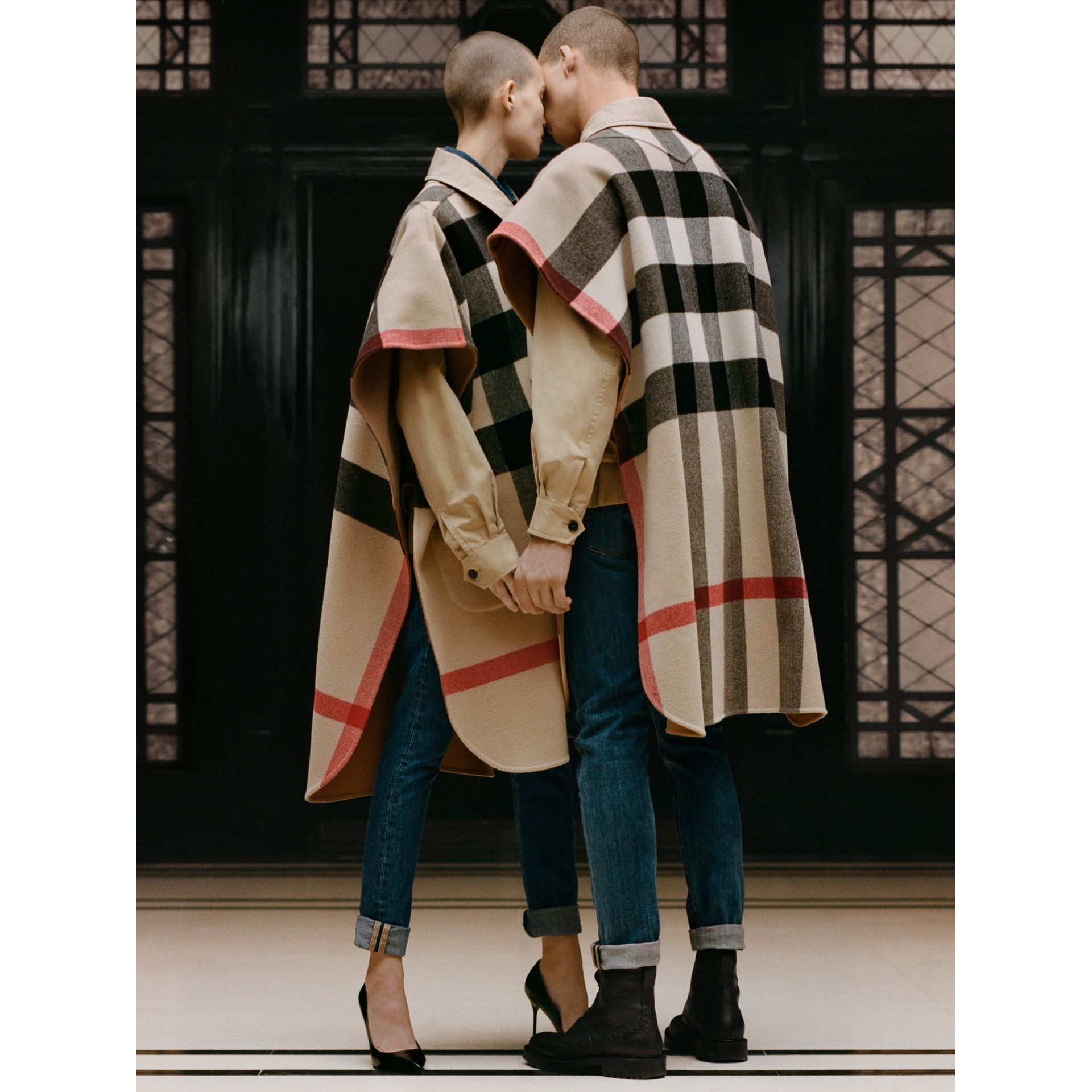 Reversible Check Wool Blend Poncho in Camel | Burberry - gallery image 1