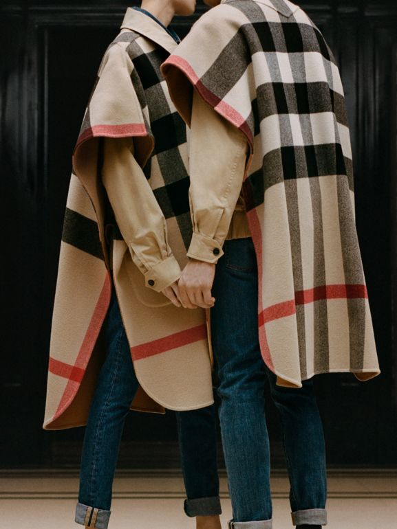 Reversible Check Wool Blend Poncho in Camel | Burberry - cell image 1