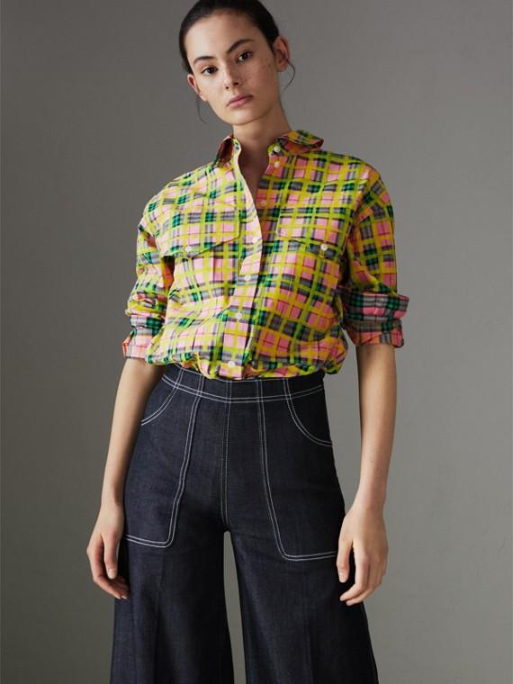 彩繪格紋棉質襯衫 (亮珊瑚粉紅)