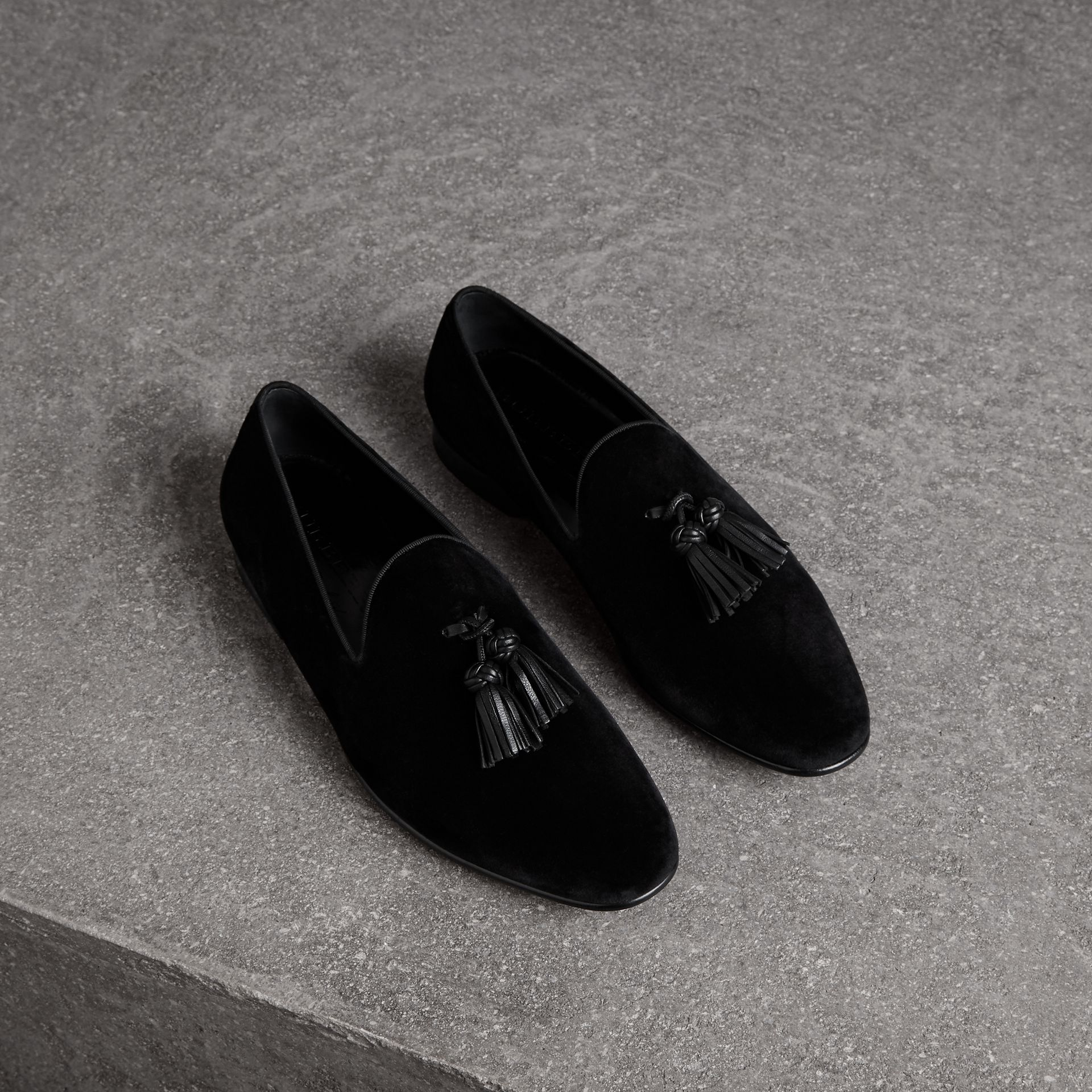Tassel Detail Velvet Loafers in Black - Men | Burberry United Kingdom - gallery image 0