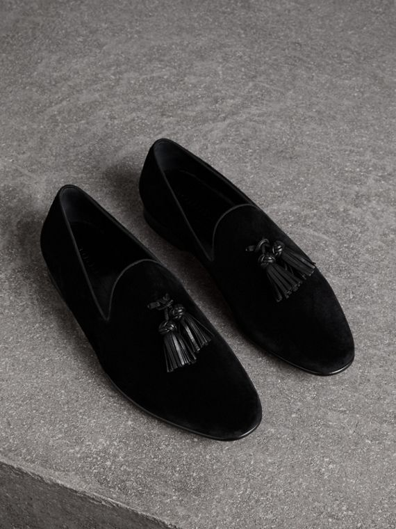 Tassel Detail Velvet Loafers in Black