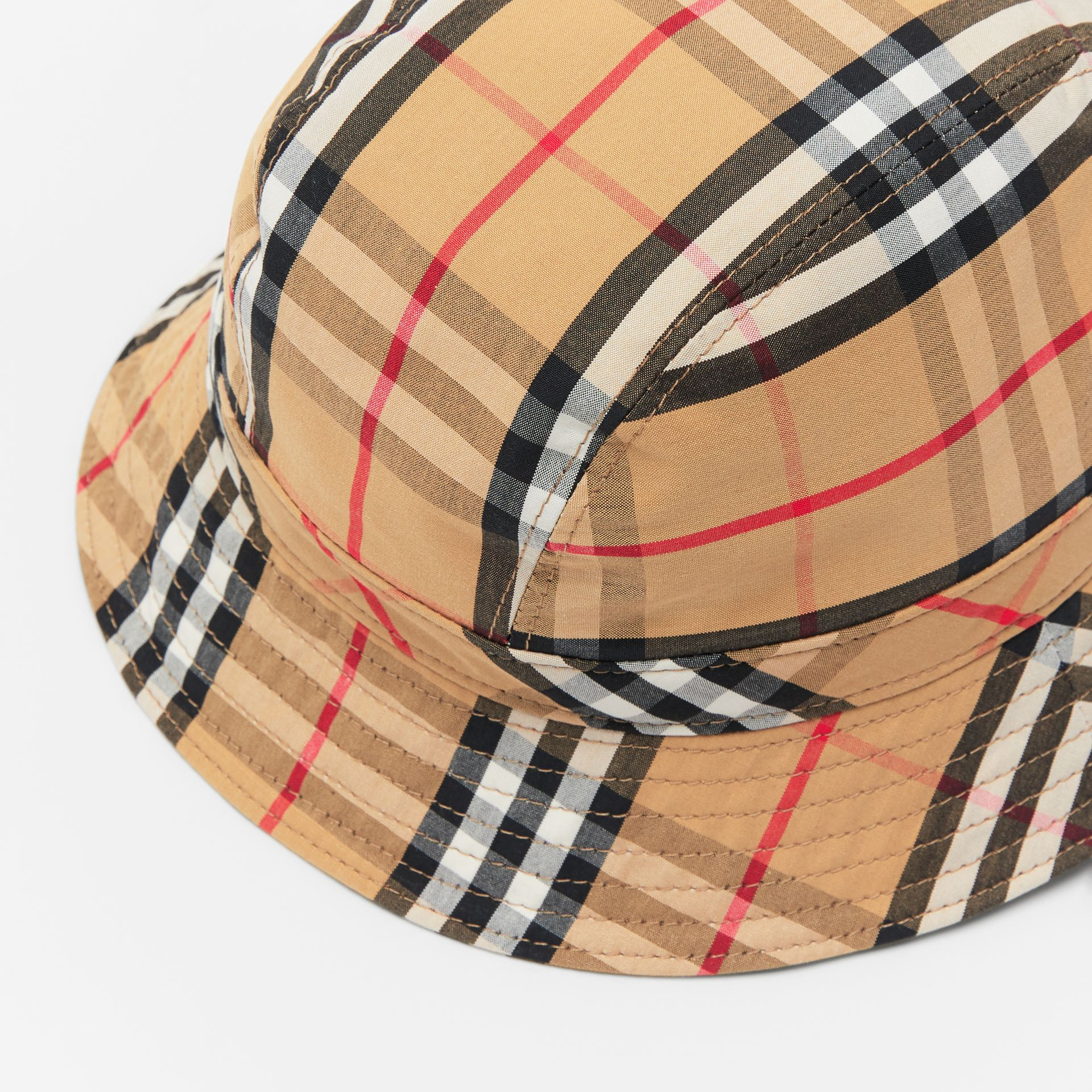 afe0f33bd87 Vintage Check Cotton Bucket Hat in Antique Yellow