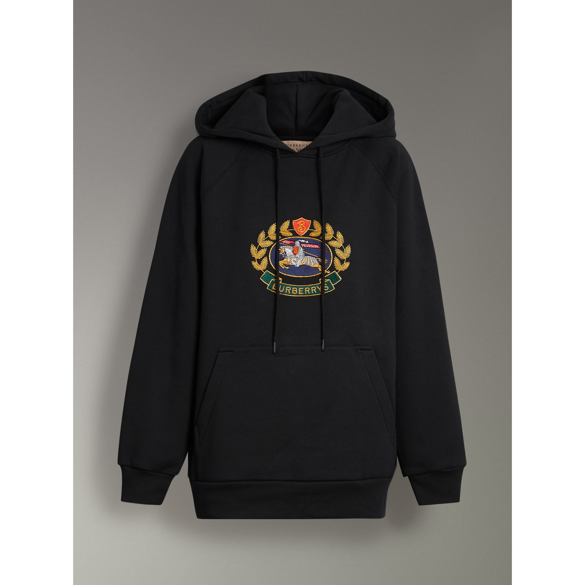 Embroidered Archive Logo Oversized Hoodie in Black - Women | Burberry United States - gallery image 3