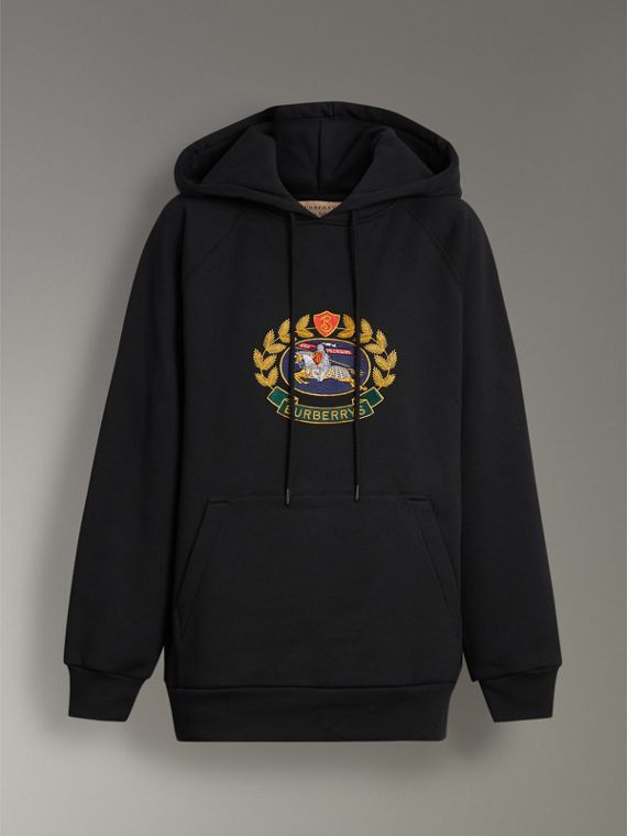 Embroidered Archive Logo Oversized Hoodie in Black - Women | Burberry United States - cell image 3