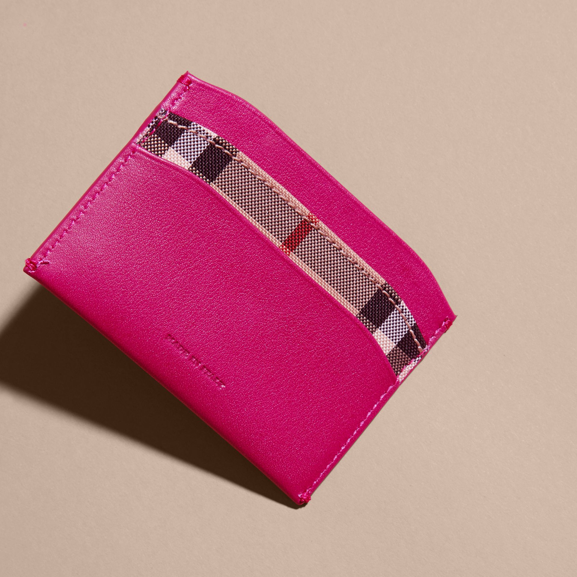 Brilliant fuchsia Check and Leather Card Case Brilliant Fuchsia - gallery image 4