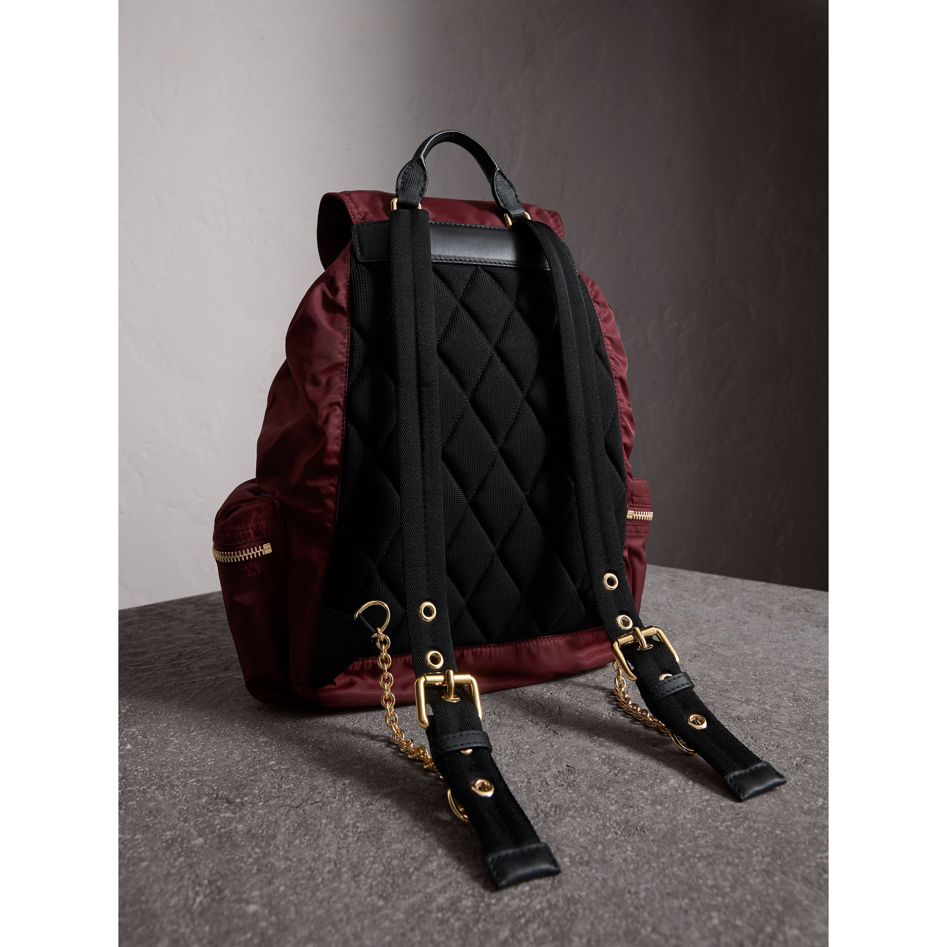 The Large Rucksack in Technical Nylon and Leather in Burgundy Red - gallery image 5