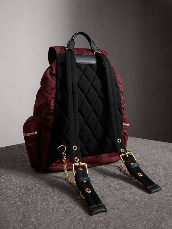 The Large Rucksack in Technical Nylon and Leather in Burgundy Red - Women | Burberry United States - cell image 3